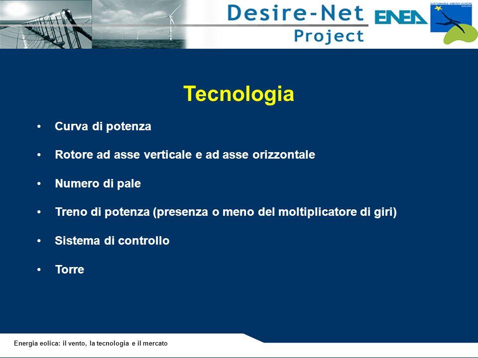 Energia eolica: il vento, la tecnologia e il mercato Tecnologia Curva di potenza Rotore ad asse verticale e ad asse orizzontale Numero di pale Treno d