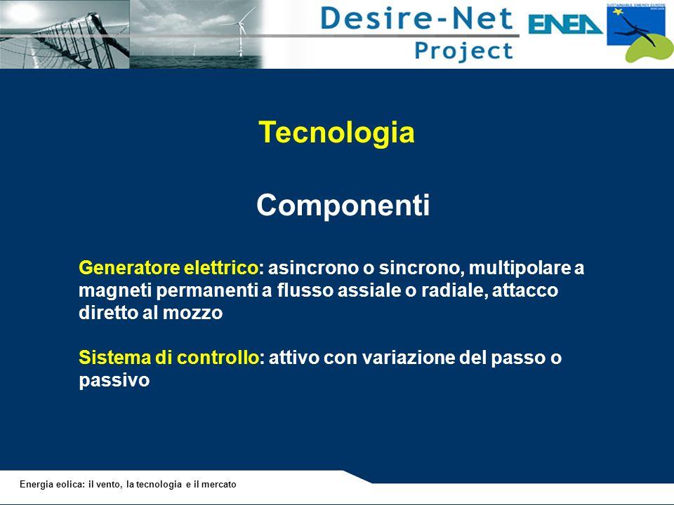 Energia eolica: il vento, la tecnologia e il mercato Tecnologia Componenti Generatore elettrico: asincrono o sincrono, multipolare a magneti permanent