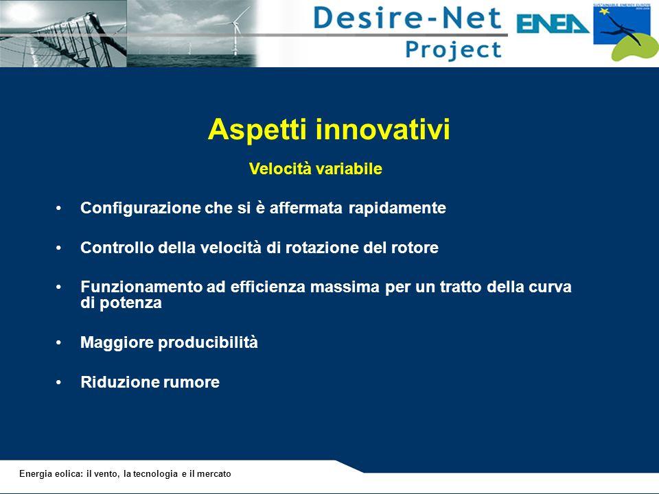 Energia eolica: il vento, la tecnologia e il mercato Aspetti innovativi Velocità variabile Configurazione che si è affermata rapidamente Controllo del