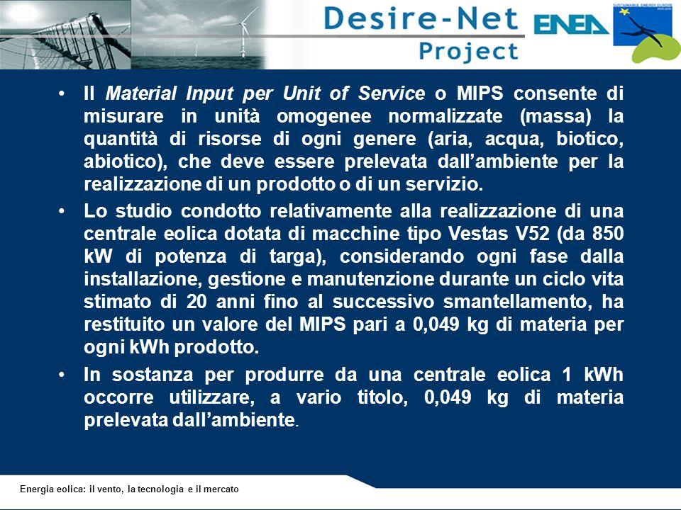 Energia eolica: il vento, la tecnologia e il mercato Il Material Input per Unit of Service o MIPS consente di misurare in unità omogenee normalizzate