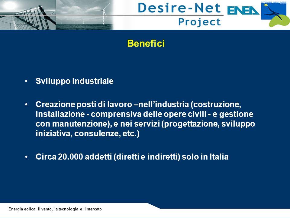 Energia eolica: il vento, la tecnologia e il mercato Benefici Sviluppo industriale Creazione posti di lavoro –nellindustria (costruzione, installazion