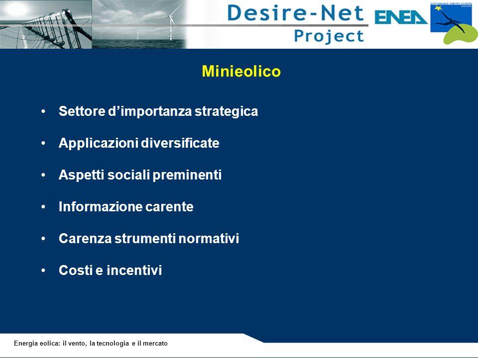 Energia eolica: il vento, la tecnologia e il mercato Minieolico Settore dimportanza strategica Applicazioni diversificate Aspetti sociali preminenti I