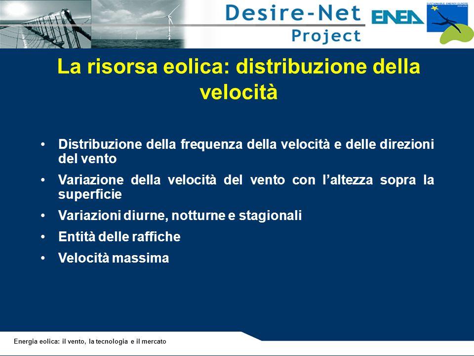 Energia eolica: il vento, la tecnologia e il mercato La risorsa eolica: distribuzione della velocità Distribuzione della frequenza della velocità e de