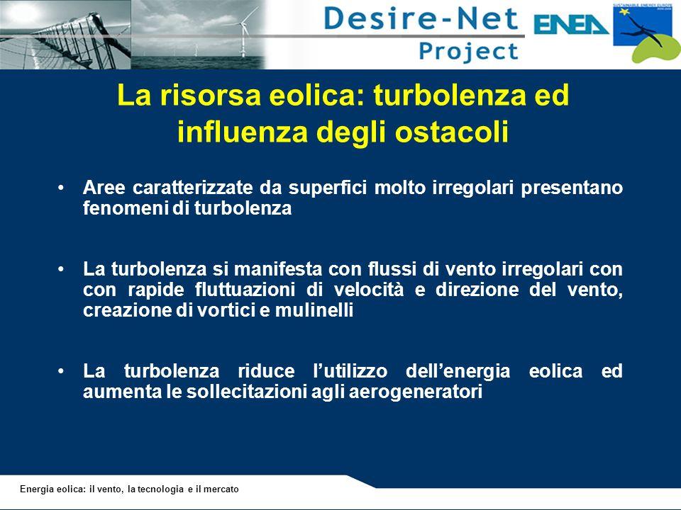 Energia eolica: il vento, la tecnologia e il mercato Aree caratterizzate da superfici molto irregolari presentano fenomeni di turbolenza La turbolenza