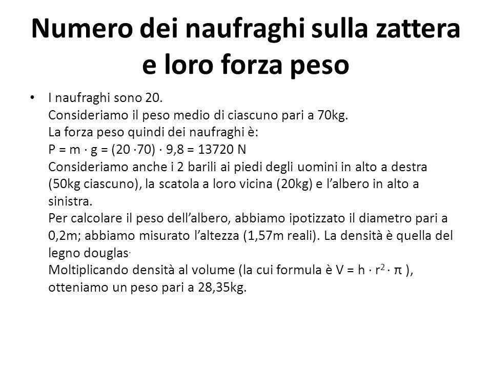 Numero dei naufraghi sulla zattera e loro forza peso I naufraghi sono 20. Consideriamo il peso medio di ciascuno pari a 70kg. La forza peso quindi dei