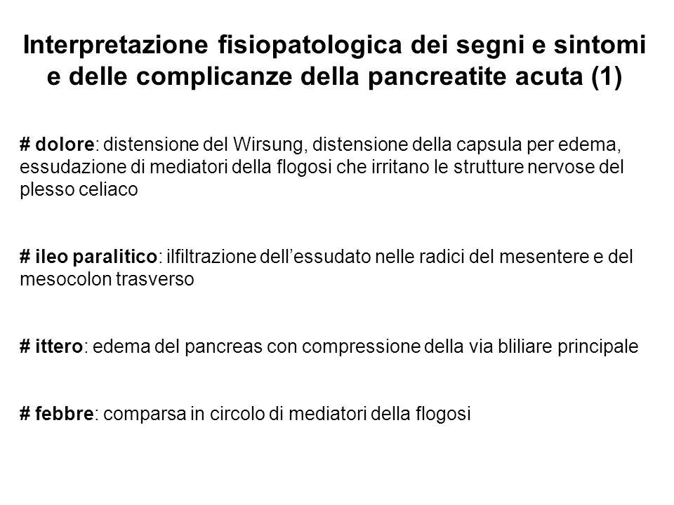 Interpretazione fisiopatologica dei segni e sintomi e delle complicanze della pancreatite acuta (1) # dolore: distensione del Wirsung, distensione del