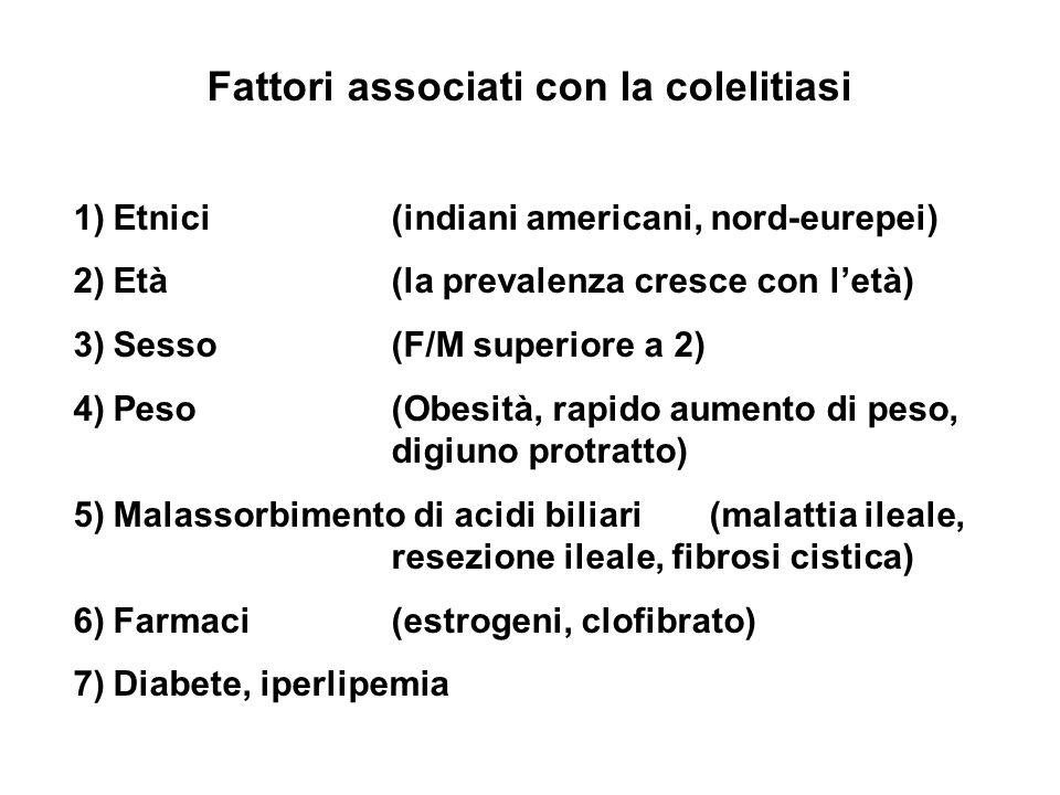 Fattori associati con la colelitiasi 1)Etnici (indiani americani, nord-eurepei) 2)Età (la prevalenza cresce con letà) 3)Sesso(F/M superiore a 2) 4)Pes