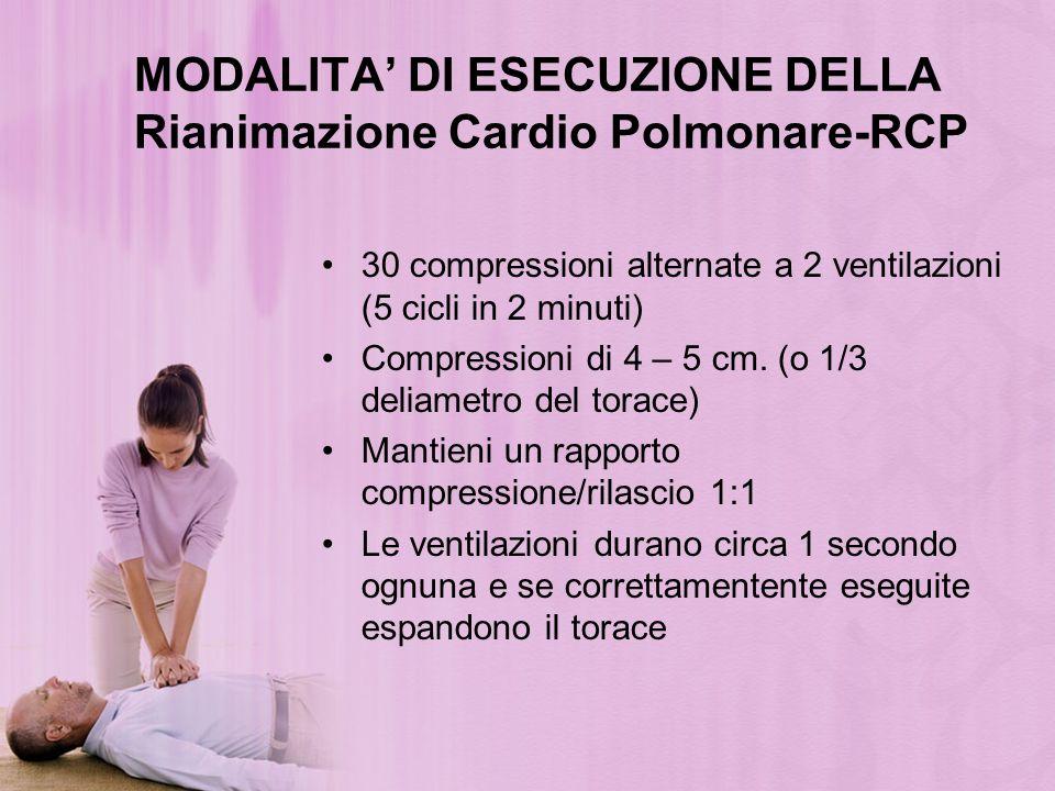 MODALITA DI ESECUZIONE DELLA Rianimazione Cardio Polmonare-RCP 30 compressioni alternate a 2 ventilazioni (5 cicli in 2 minuti) Compressioni di 4 – 5