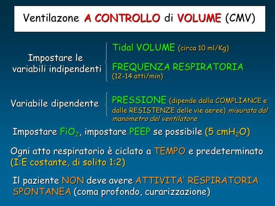 Impostare le variabili indipendenti Tidal VOLUME (circa 10 ml/Kg) FREQUENZA RESPIRATORIA (12-14 atti/min) Variabile dipendente PRESSIONE (dipende dall