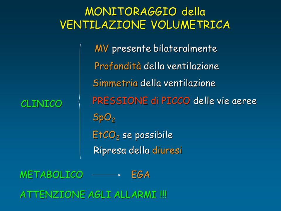 MONITORAGGIO della VENTILAZIONE VOLUMETRICA CLINICO MV presente bilateralmente Profondità della ventilazione Simmetria della ventilazione Ripresa dell