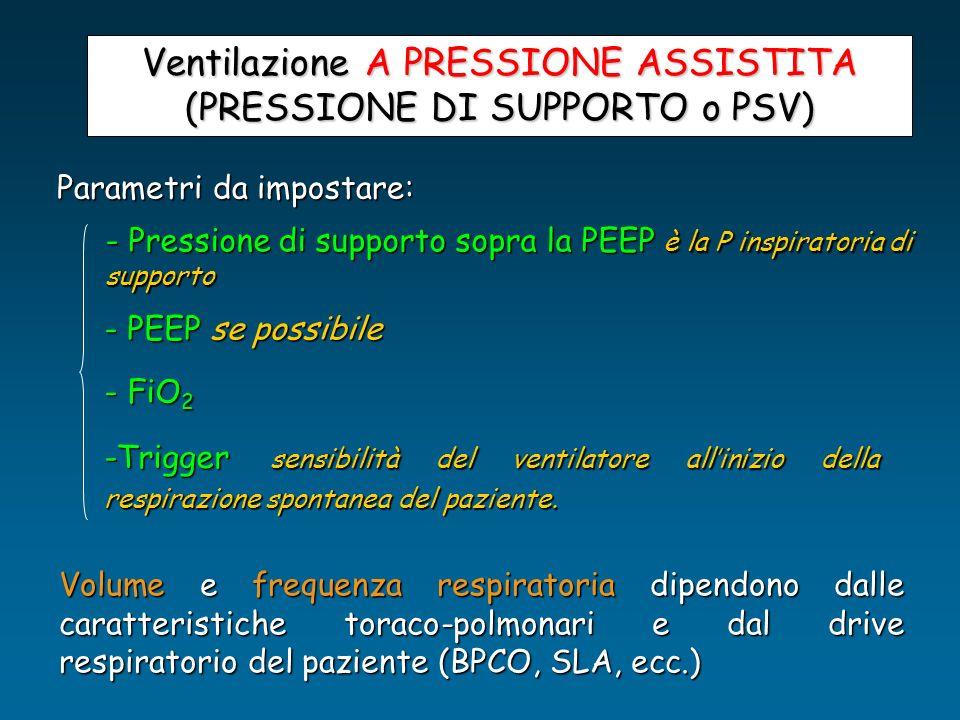 Ventilazione A PRESSIONE ASSISTITA (PRESSIONE DI SUPPORTO o PSV) Parametri da impostare: - Pressione di supporto sopra la PEEP è la P inspiratoria di
