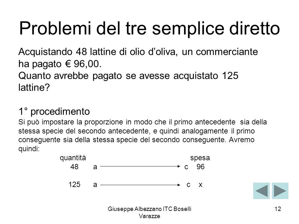 Giuseppe Albezzano ITC Boselli Varazze 12 Problemi del tre semplice diretto Acquistando 48 lattine di olio doliva, un commerciante ha pagato 96,00. Qu