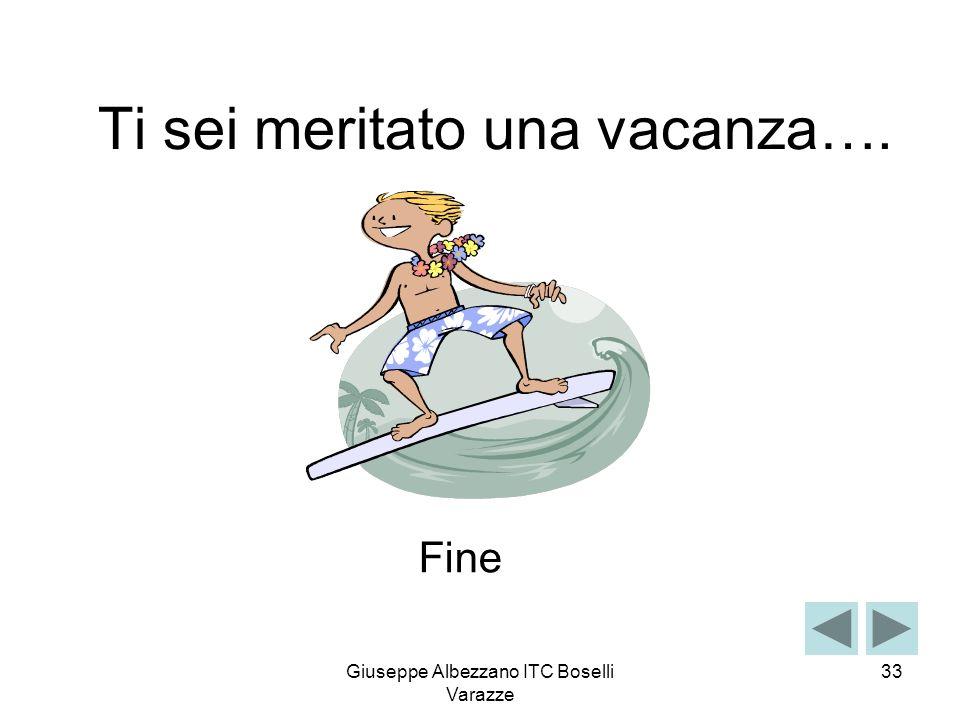Giuseppe Albezzano ITC Boselli Varazze 33 Ti sei meritato una vacanza…. Fine