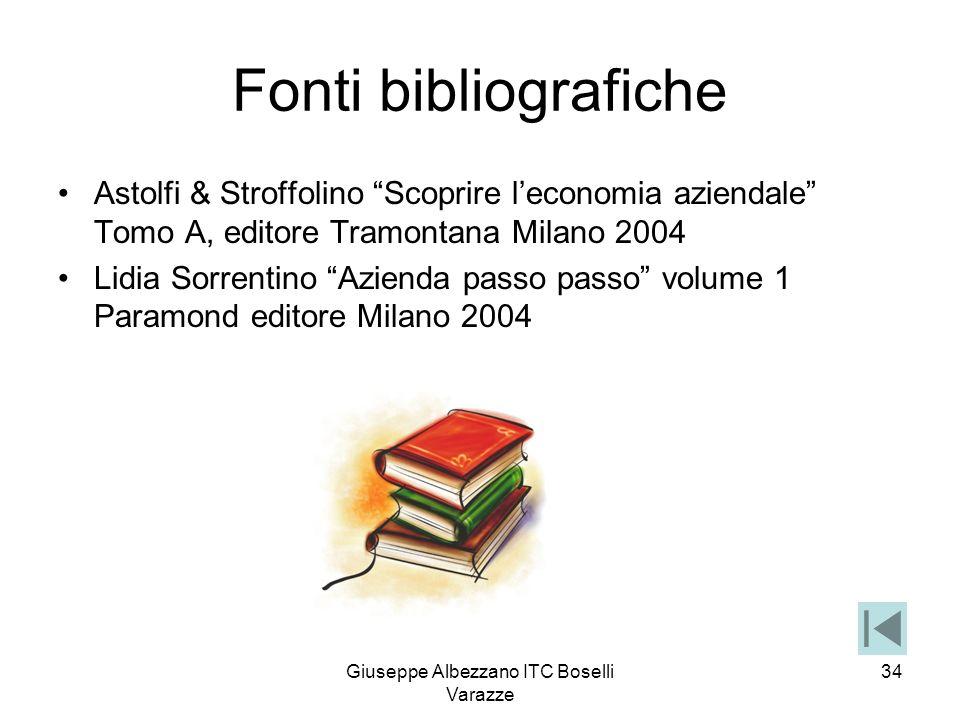 Giuseppe Albezzano ITC Boselli Varazze 34 Fonti bibliografiche Astolfi & Stroffolino Scoprire leconomia aziendale Tomo A, editore Tramontana Milano 20