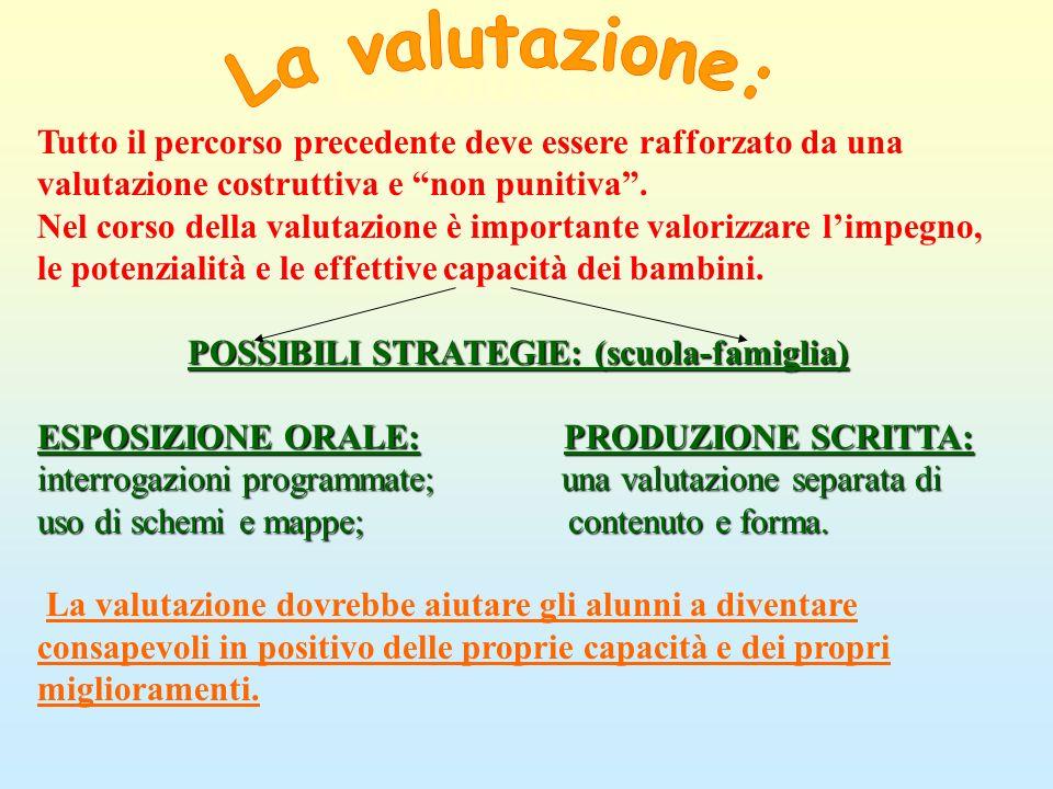 La valutazione: Tutto il percorso precedente deve essere rafforzato da una valutazione costruttiva e non punitiva. Nel corso della valutazione è impor
