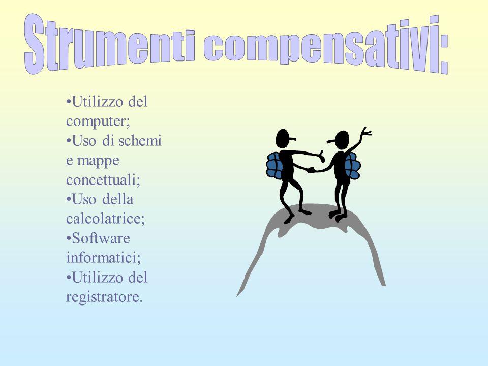 Strumenti compensativi: Utilizzo del computer; Uso di schemi e mappe concettuali; Uso della calcolatrice; Software informatici; Utilizzo del registrat