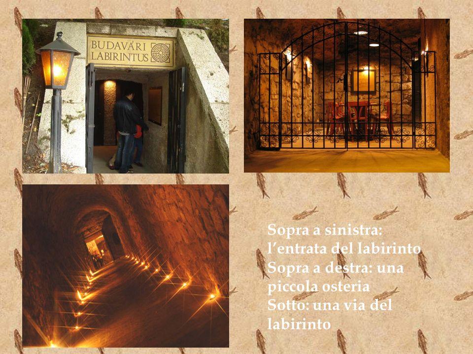 Sopra a sinistra: lentrata del labirinto Sopra a destra: una piccola osteria Sotto: una via del labirinto