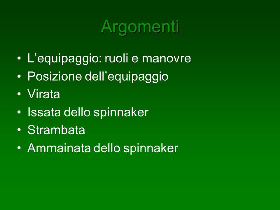 Argomenti Lequipaggio: ruoli e manovre Posizione dellequipaggio Virata Issata dello spinnaker Strambata Ammainata dello spinnaker