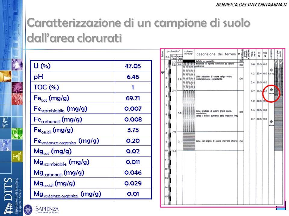 BONIFICA DEI SITI CONTAMINATI 13 Caratterizzazione di un campione di suolo dallarea clorurati U (%) 47.05pH6.46 TOC (%) 1 Fe tot (mg/g) 69.71 Fe scamb