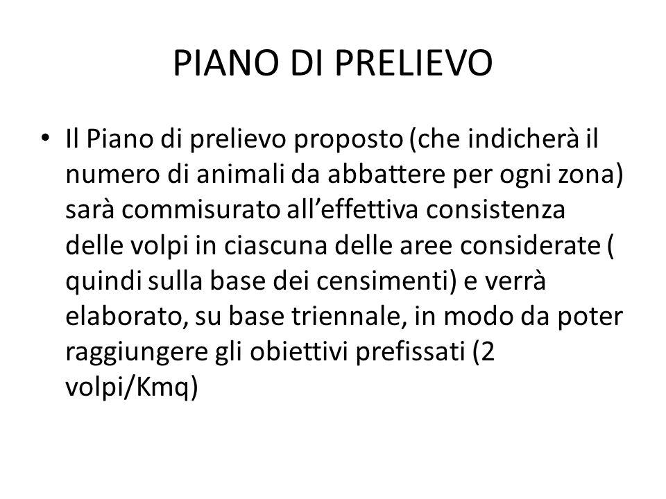 PIANO DI PRELIEVO Il Piano di prelievo proposto (che indicherà il numero di animali da abbattere per ogni zona) sarà commisurato alleffettiva consiste