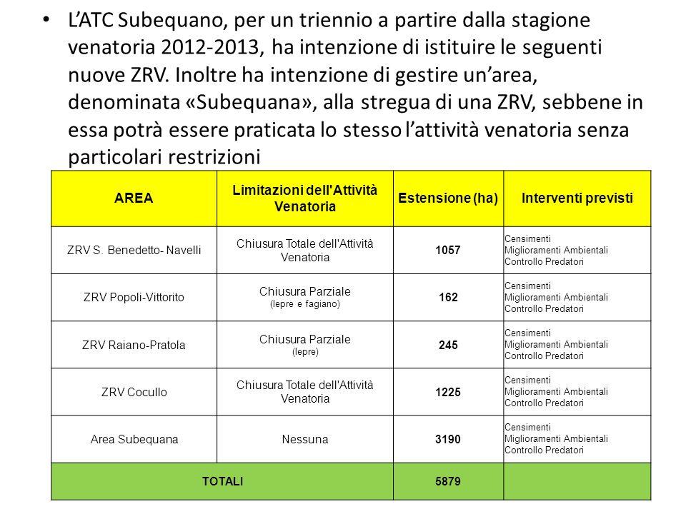 LATC Subequano, per un triennio a partire dalla stagione venatoria 2012-2013, ha intenzione di istituire le seguenti nuove ZRV. Inoltre ha intenzione