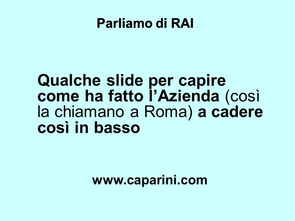 Parliamo di RAI Qualche slide per capire come ha fatto lAzienda (così la chiamano a Roma) a cadere così in basso Parliamo di RAI www.caparini.com