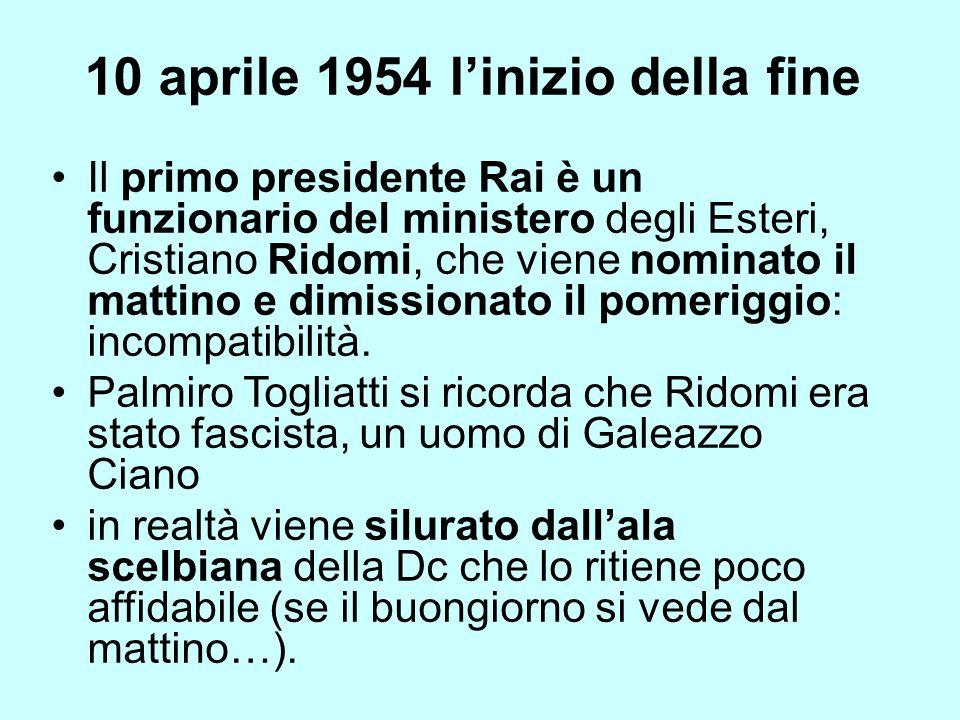 10 aprile 1954 linizio della fine Il primo presidente Rai è un funzionario del ministero degli Esteri, Cristiano Ridomi, che viene nominato il mattino