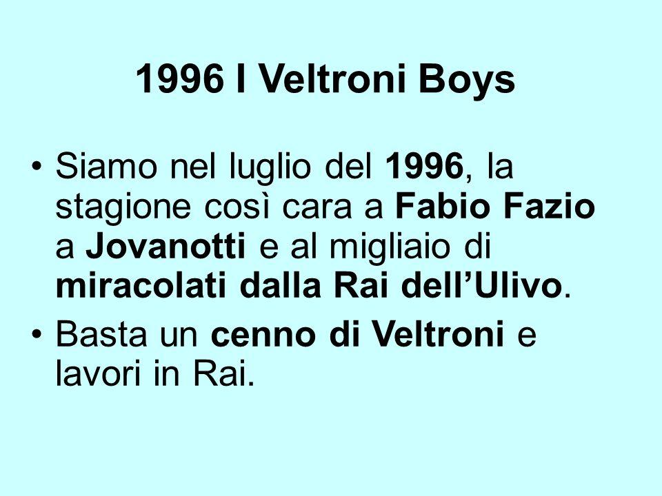 1996 I Veltroni Boys Siamo nel luglio del 1996, la stagione così cara a Fabio Fazio a Jovanotti e al migliaio di miracolati dalla Rai dellUlivo. Basta