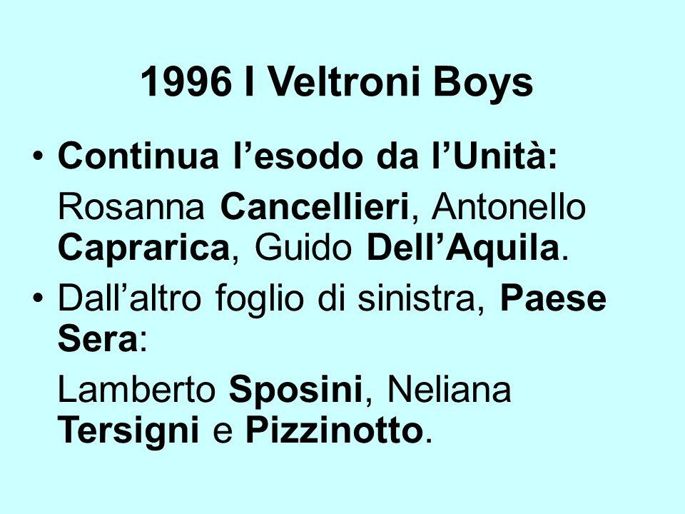 1996 I Veltroni Boys Continua lesodo da lUnità: Rosanna Cancellieri, Antonello Caprarica, Guido DellAquila. Dallaltro foglio di sinistra, Paese Sera: