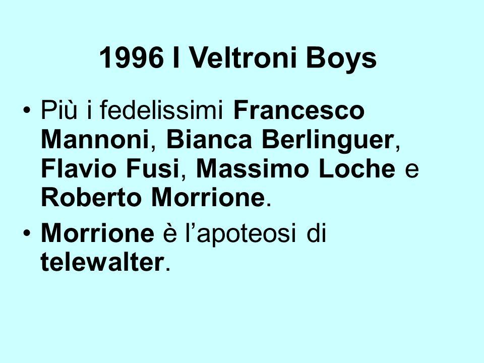 1996 I Veltroni Boys Più i fedelissimi Francesco Mannoni, Bianca Berlinguer, Flavio Fusi, Massimo Loche e Roberto Morrione. Morrione è lapoteosi di te