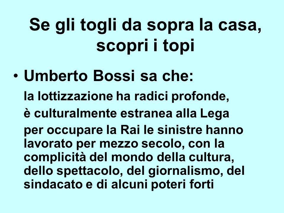 Umberto Bossi sa che: la lottizzazione ha radici profonde, è culturalmente estranea alla Lega per occupare la Rai le sinistre hanno lavorato per mezzo