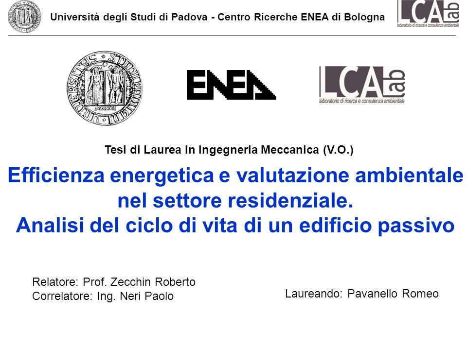 Efficienza energetica e valutazione ambientale nel settore residenziale. Analisi del ciclo di vita di un edificio passivo Relatore: Prof. Zecchin Robe