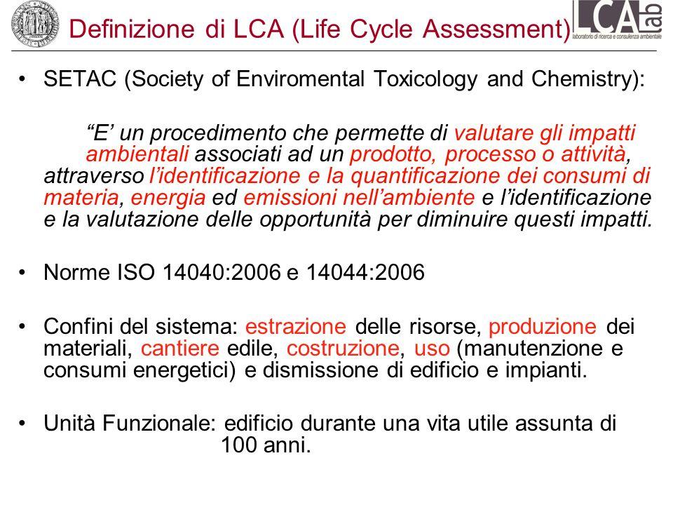 Definizione di LCA (Life Cycle Assessment) SETAC (Society of Enviromental Toxicology and Chemistry): E un procedimento che permette di valutare gli im