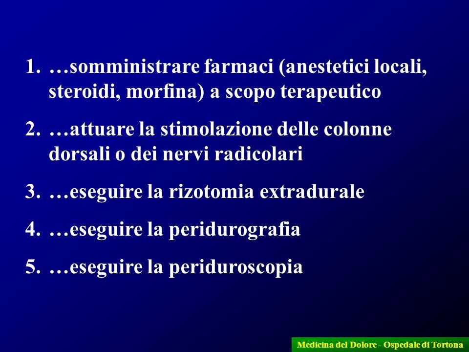 13 Medicina del Dolore - Ospedale di Tortona 1.…somministrare farmaci (anestetici locali, steroidi, morfina) a scopo terapeutico 2.…attuare la stimola