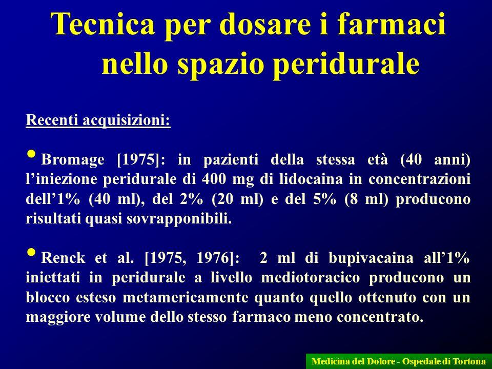 21 Recenti acquisizioni: Bromage [1975]: in pazienti della stessa età (40 anni) liniezione peridurale di 400 mg di lidocaina in concentrazioni dell1%
