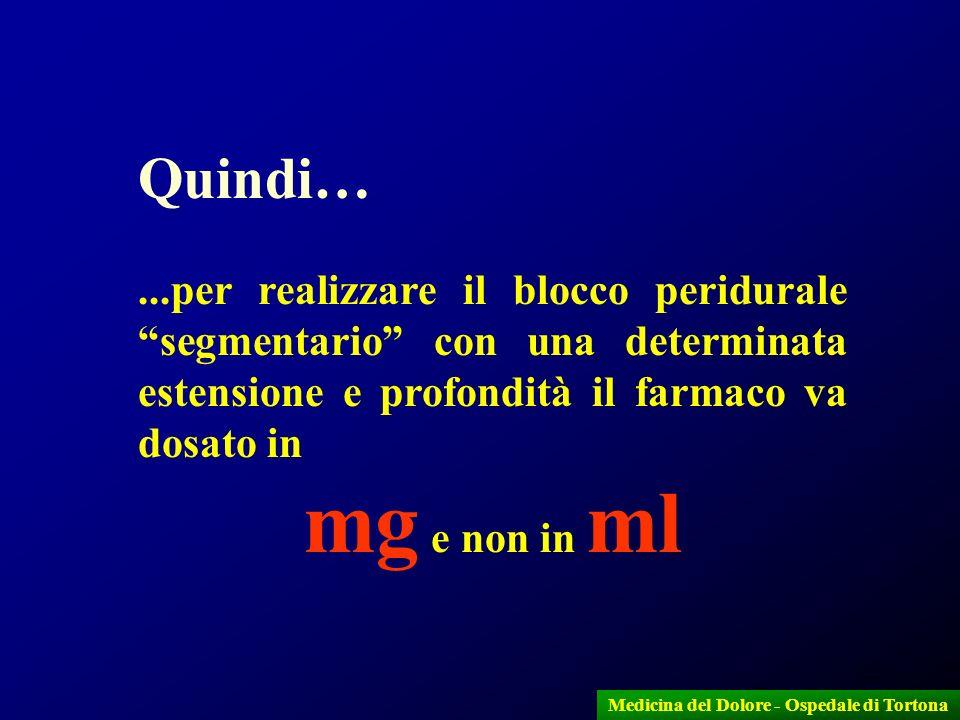 22 Quindi…...per realizzare il blocco peridurale segmentario con una determinata estensione e profondità il farmaco va dosato in mg e non in ml Medici