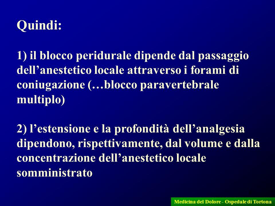 6 Quindi: 1) il blocco peridurale dipende dal passaggio dellanestetico locale attraverso i forami di coniugazione (…blocco paravertebrale multiplo) 2)