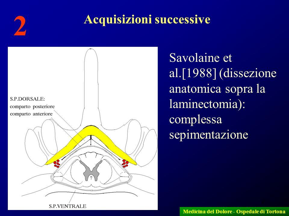 9 Savolaine et al.[1988] (dissezione anatomica sopra la laminectomia): complessa sepimentazione Medicina del Dolore - Ospedale di Tortona Acquisizioni