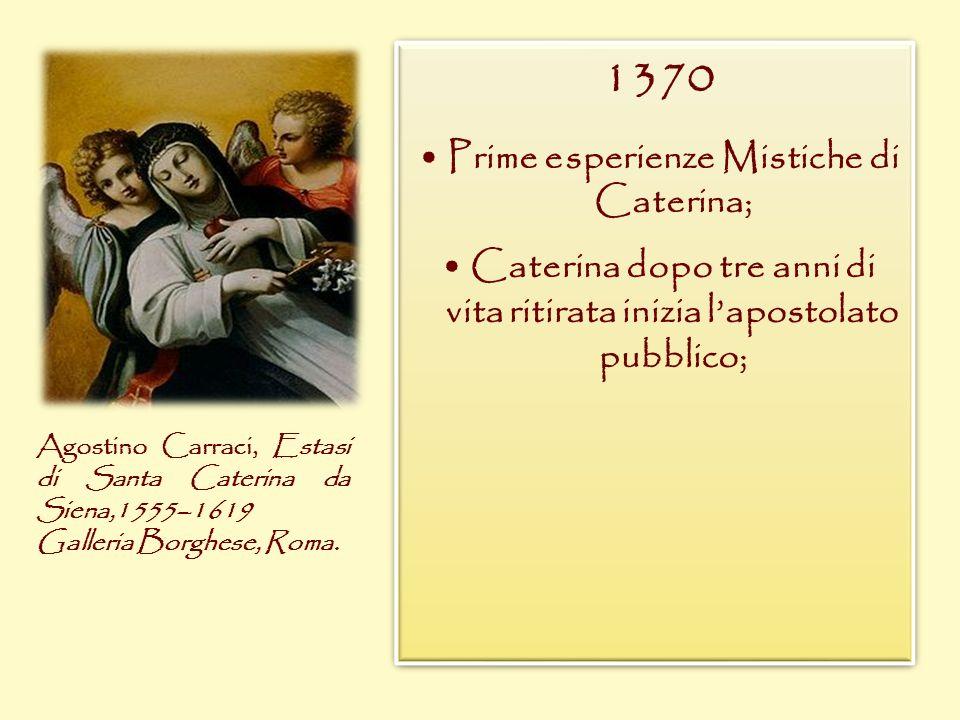 1370 Prime esperienze Mistiche di Caterina; Caterina dopo tre anni di vita ritirata inizia lapostolato pubblico; 1370 Prime esperienze Mistiche di Cat