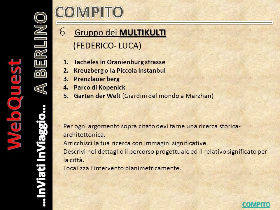 MULTIKULTI 6. Gruppo dei MULTIKULTI (FEDERICO- LUCA) COMPITO Per ogni argomento sopra citato devi farne una ricerca storica- architettonica. Arricchis