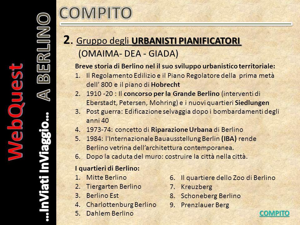 URBANISTI PIANIFICATORI 2. Gruppo degli URBANISTI PIANIFICATORI (OMAIMA- DEA - GIADA) COMPITO Breve storia di Berlino nel il suo sviluppo urbanistico