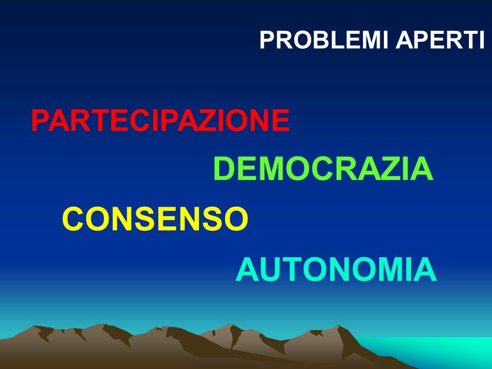 PROBLEMI APERTI CONSENSO PARTECIPAZIONE DEMOCRAZIA AUTONOMIA