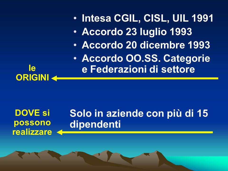 le ORIGINI Intesa CGIL, CISL, UIL 1991 Accordo 23 luglio 1993 Accordo 20 dicembre 1993 Accordo OO.SS. Categorie e Federazioni di settore DOVE si posso