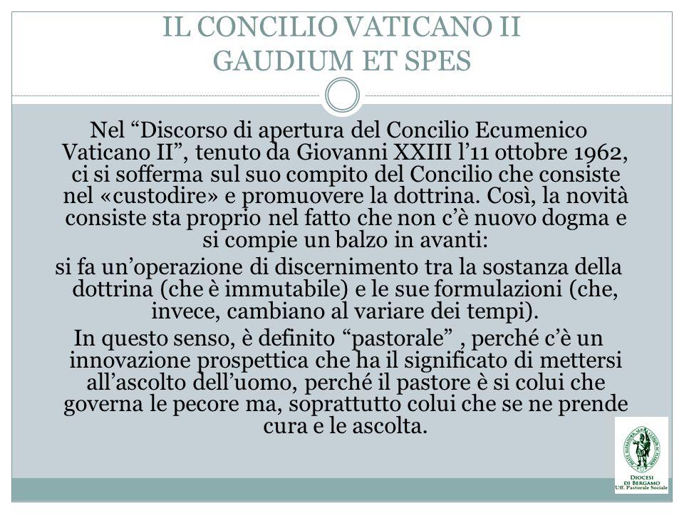 IL CONCILIO VATICANO II GAUDIUM ET SPES Nel Discorso di apertura del Concilio Ecumenico Vaticano II, tenuto da Giovanni XXIII l11 ottobre 1962, ci si