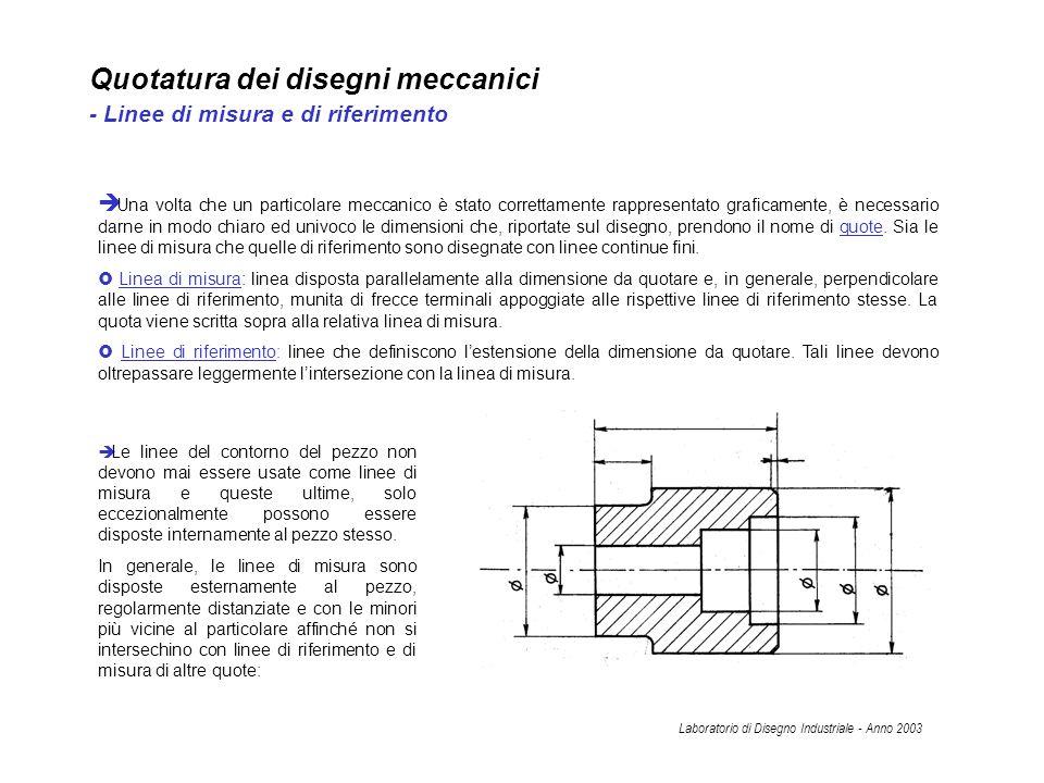 Quotatura dei disegni meccanici - Linee di misura e di riferimento Una volta che un particolare meccanico è stato correttamente rappresentato graficam