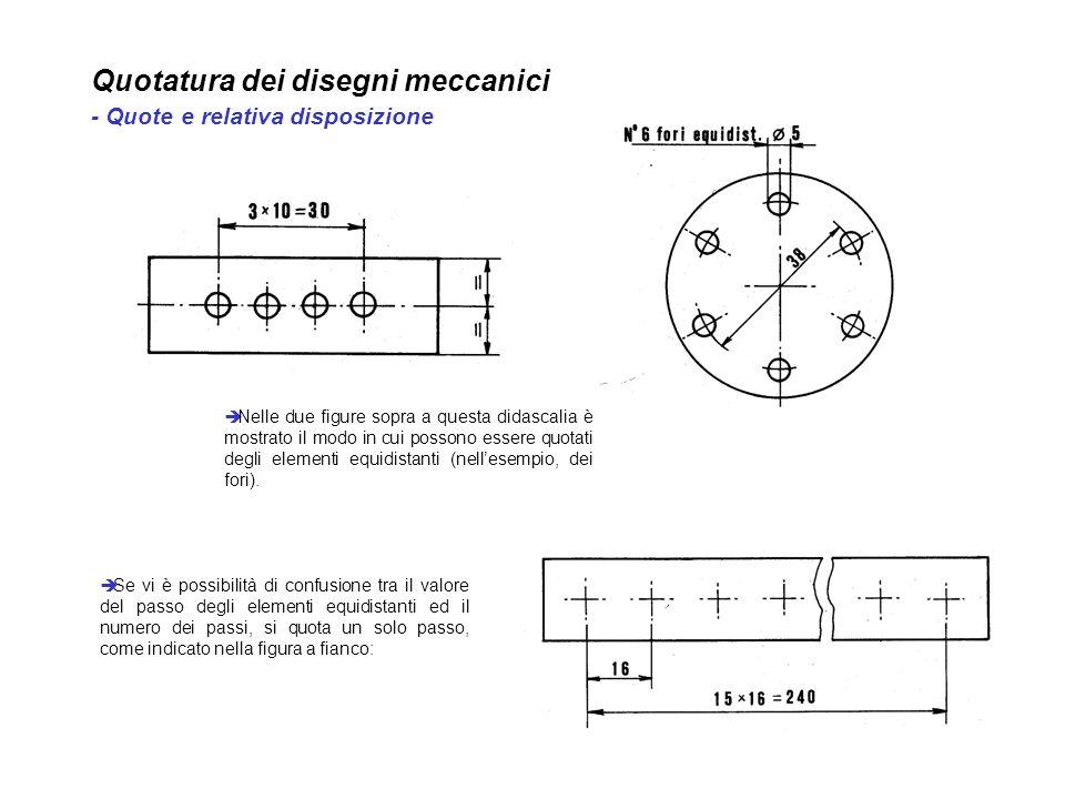 Quotatura dei disegni meccanici - Quote e relativa disposizione Nelle due figure sopra a questa didascalia è mostrato il modo in cui possono essere qu