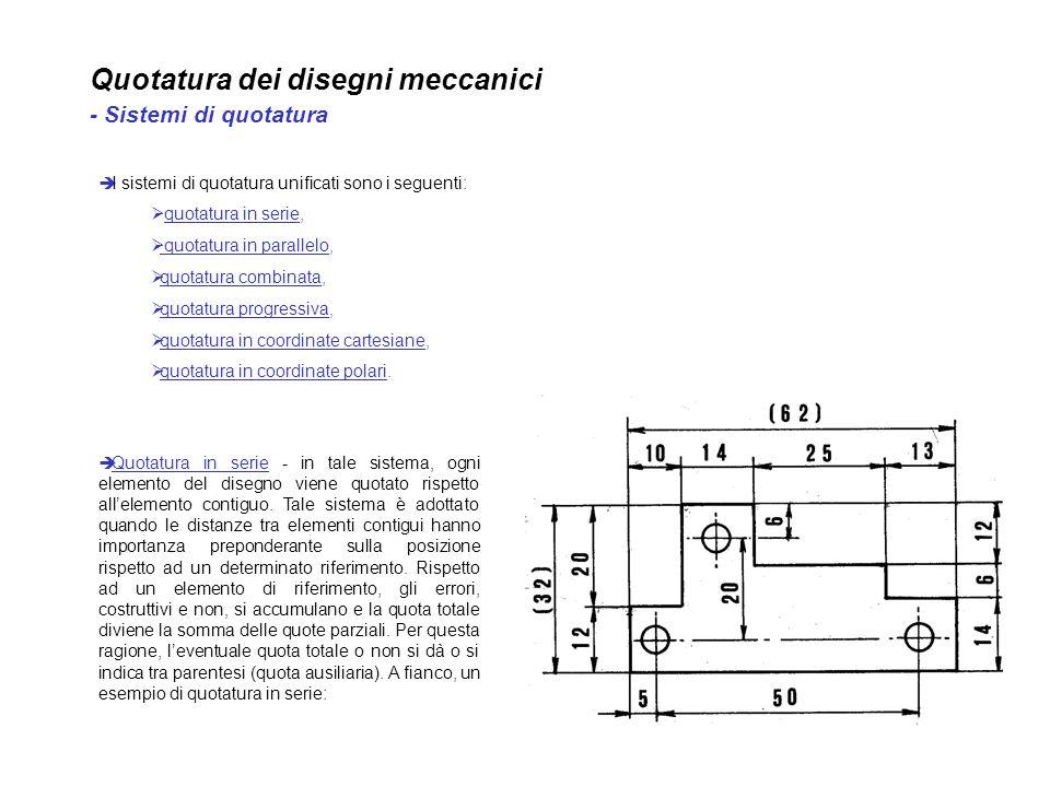 Quotatura dei disegni meccanici - Sistemi di quotatura I sistemi di quotatura unificati sono i seguenti: quotatura in serie, quotatura in parallelo, q