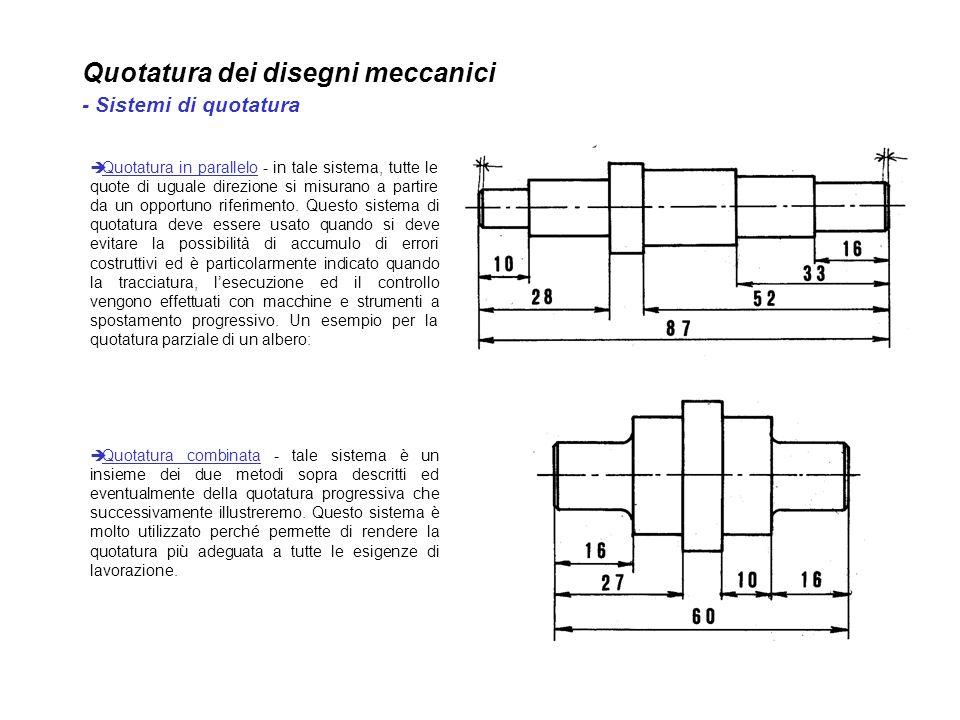 Quotatura dei disegni meccanici - Sistemi di quotatura Quotatura in parallelo - in tale sistema, tutte le quote di uguale direzione si misurano a part