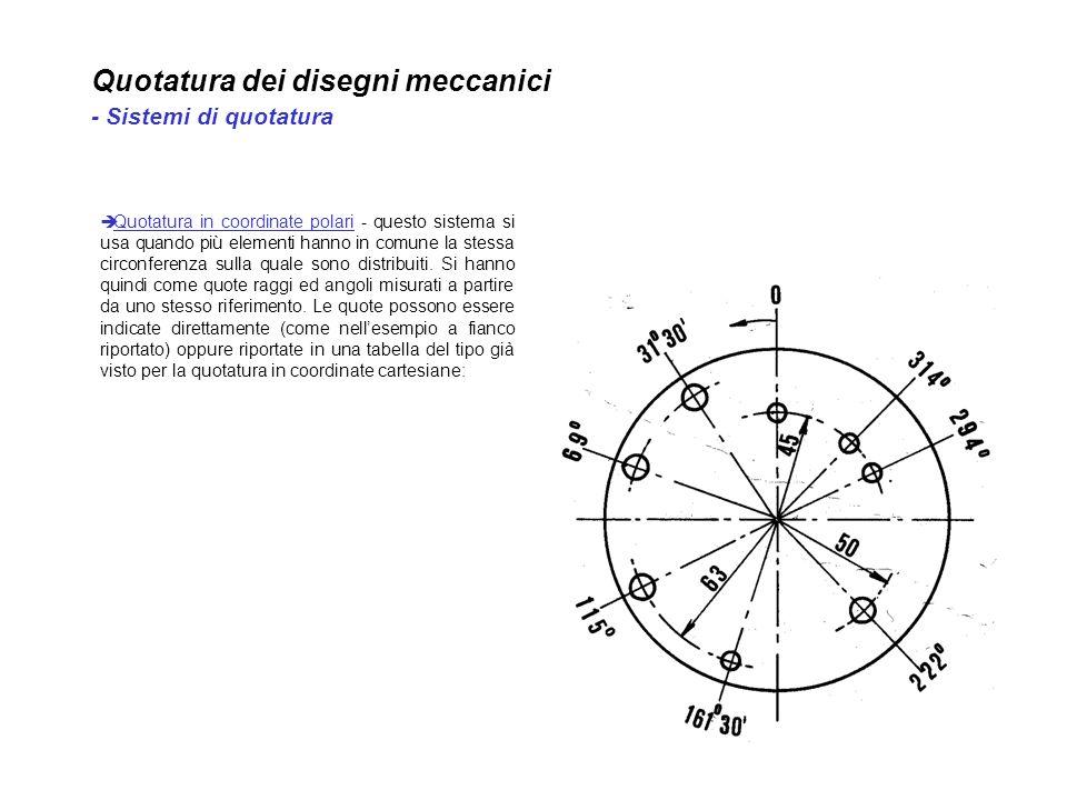 Quotatura dei disegni meccanici - Sistemi di quotatura Quotatura in coordinate polari - questo sistema si usa quando più elementi hanno in comune la s