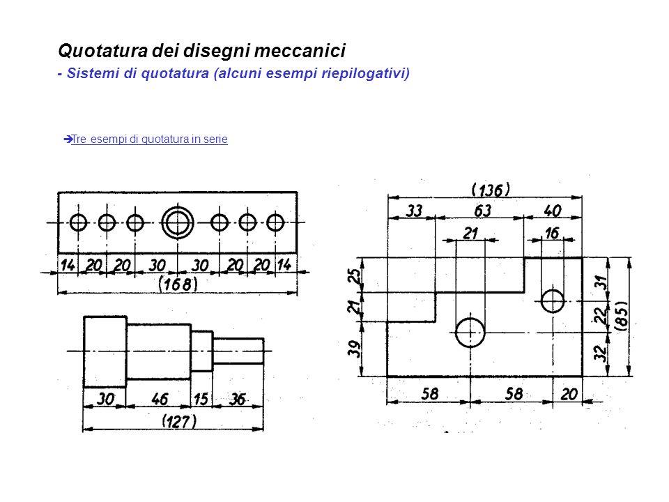 Quotatura dei disegni meccanici - Sistemi di quotatura (alcuni esempi riepilogativi) Tre esempi di quotatura in serie